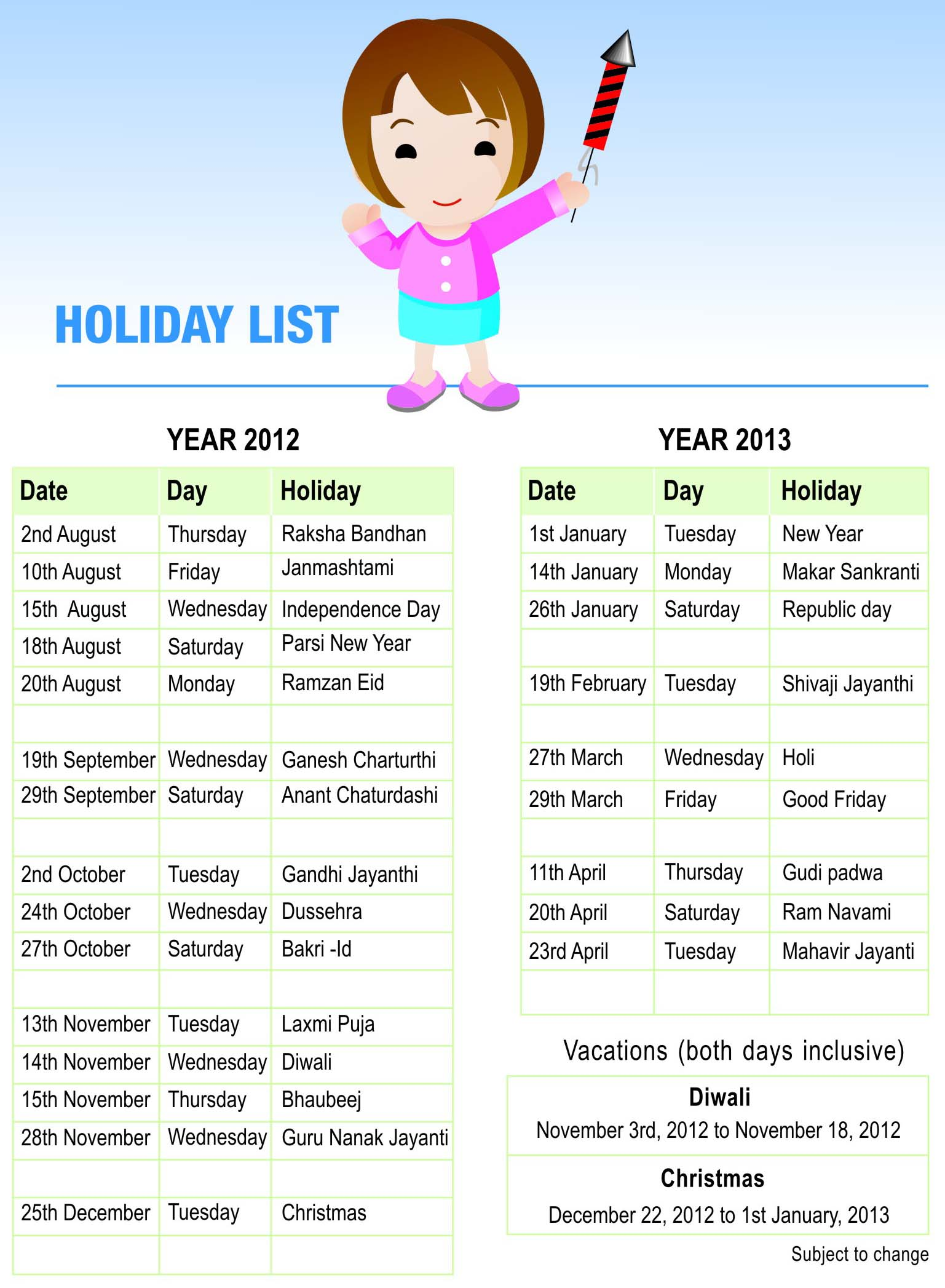 Pre-Primary Holiday List | Universal High, Ghatkopar
