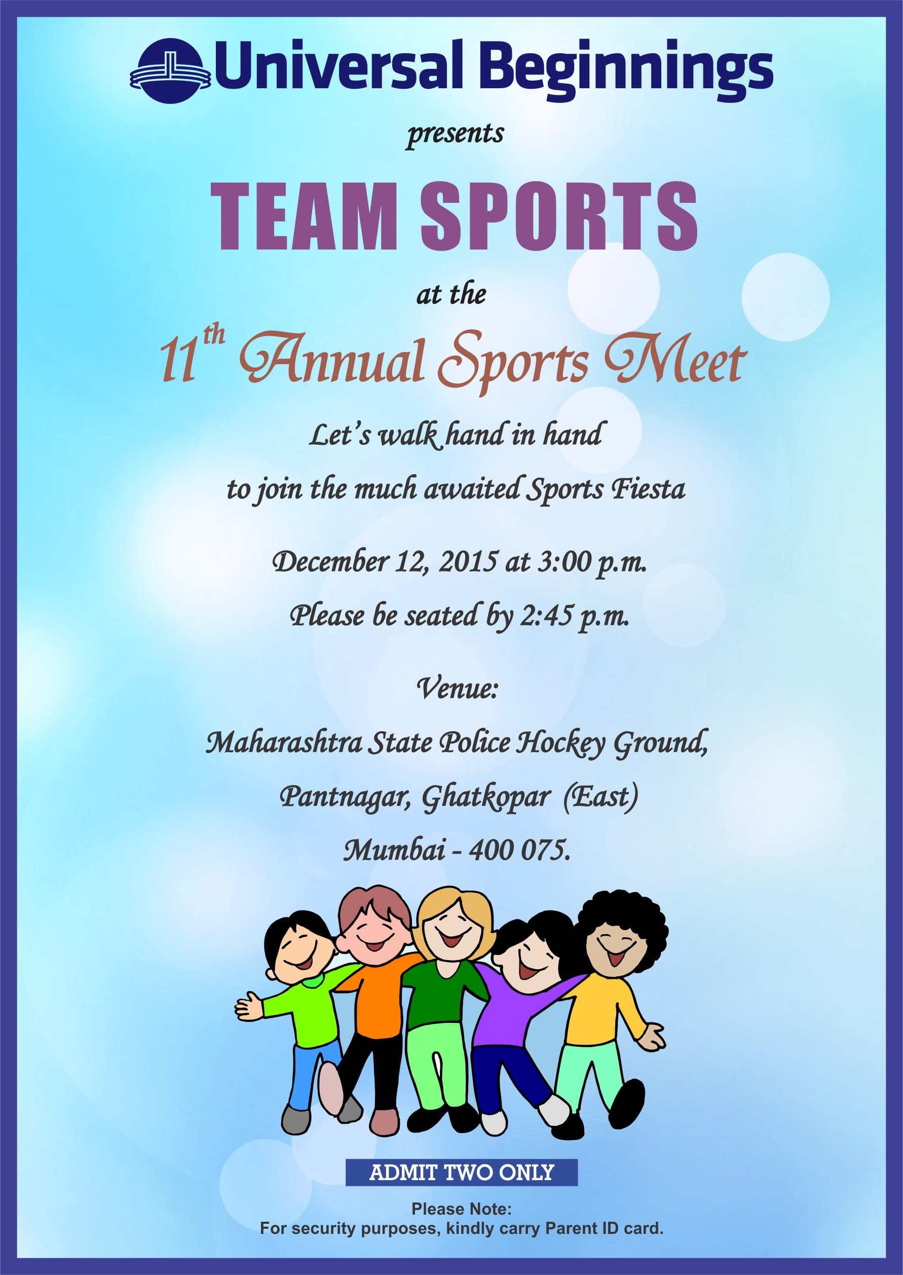 Ub Invitation For Annual Sports Meet The Universal
