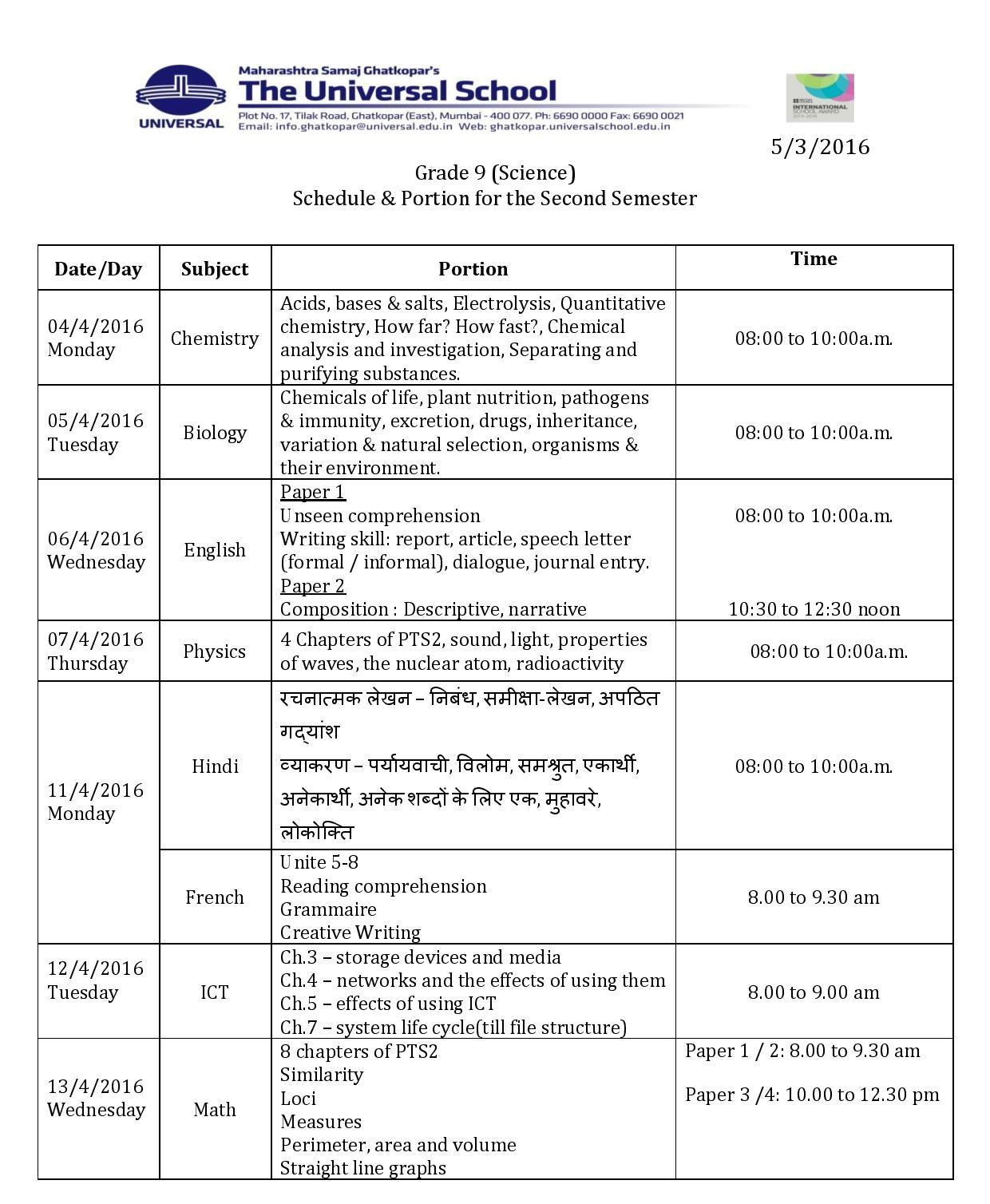 Grade 9 Science – Schedule & Portion for Second Semester Exam