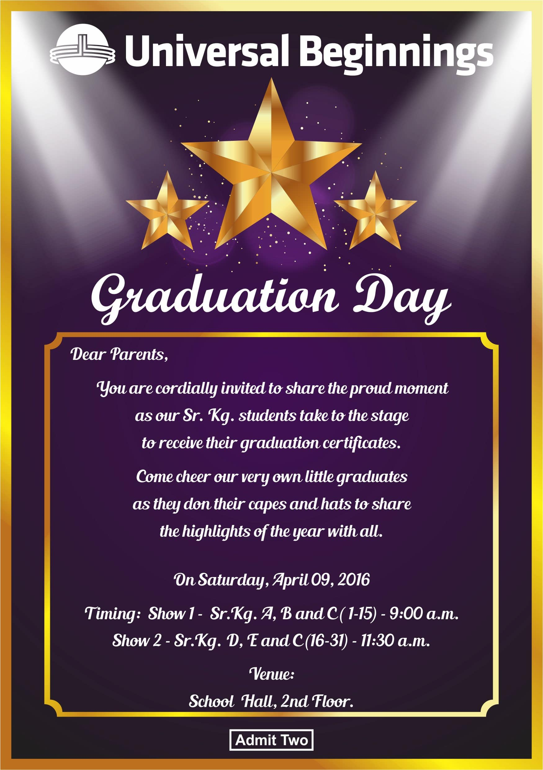 Invitation for graduation day the universal school ghatkopar invitation for graduation day stopboris Gallery