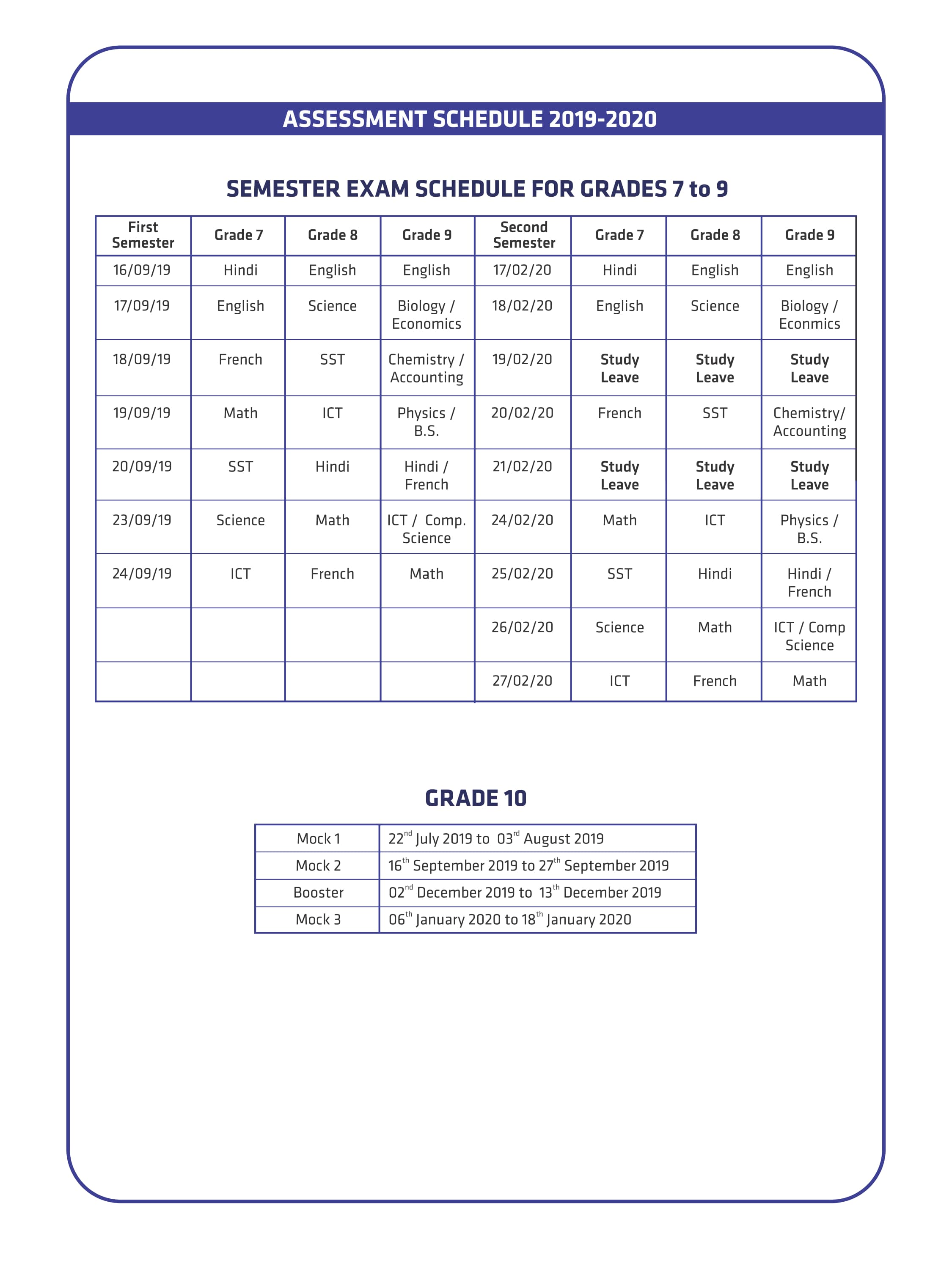 Primary & Secondary Assessment Schedule & Visiting Days