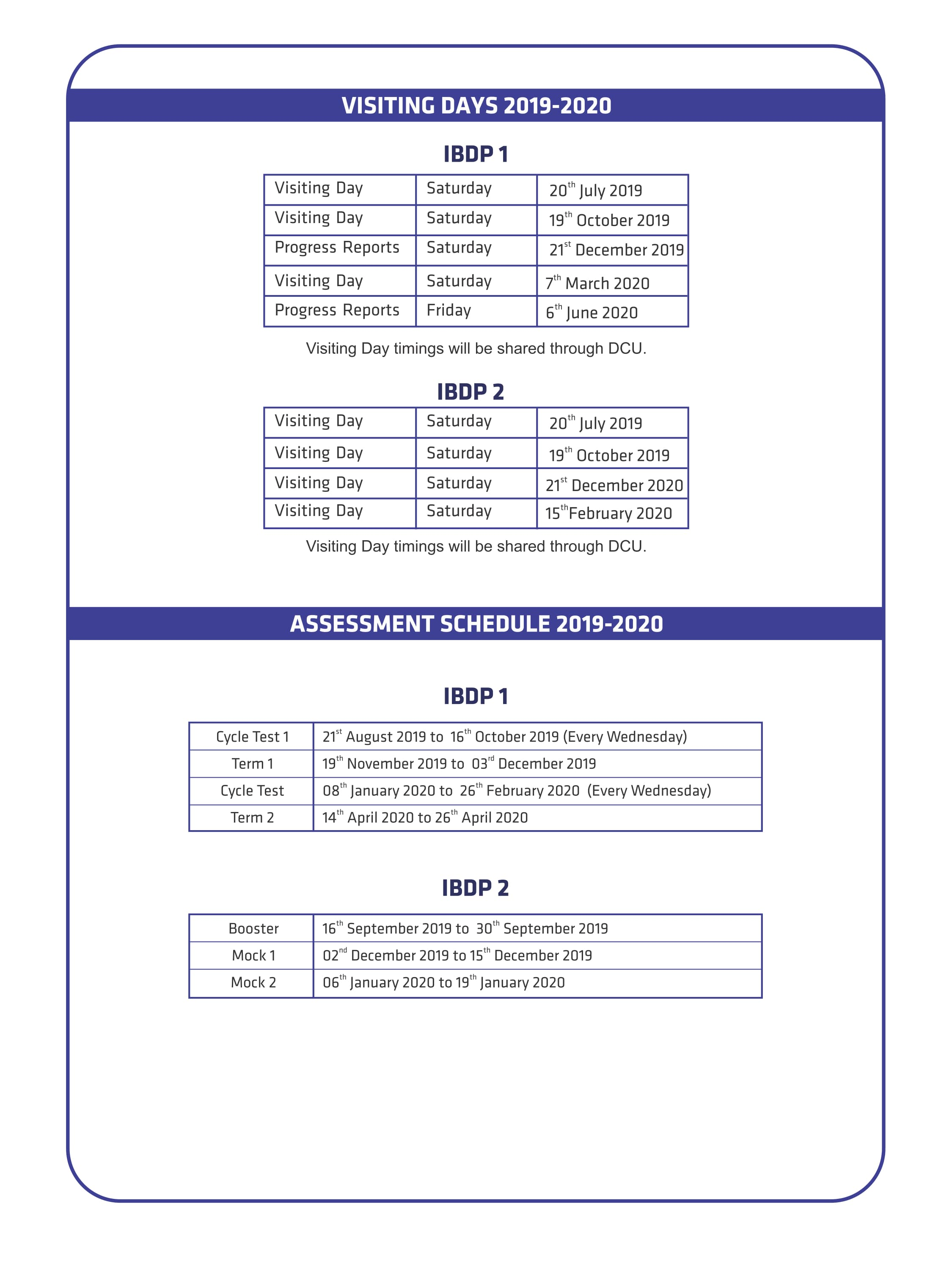 IBDP Assessment Schedule & Visiting Days