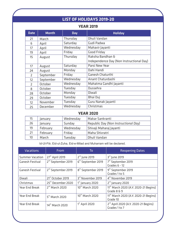 Primary & Secondary List of Holidays